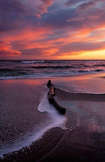 Stock Photo: 1436R-272377 Sunset. Mediterranean Sea. Calafell, Tarragona province, Catalonia. Spain
