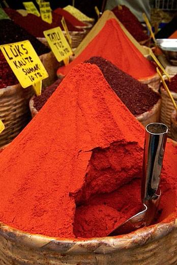 Spices. Misir Carsisi (Egyptian bazaar). Istanbul. Turkey. : Stock Photo