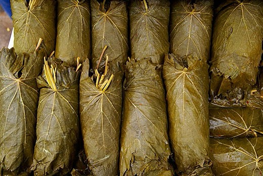 Stuffed vine leaves (Yaprak dolmasi). Misir Carsisi (Egyptian bazaar). Istanbul. Turkey. : Stock Photo