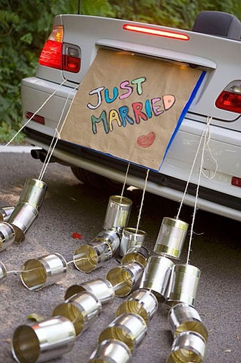 Just Married. Convertible car with tin cans. Gipuzkoa, Euskadi. : Stock Photo