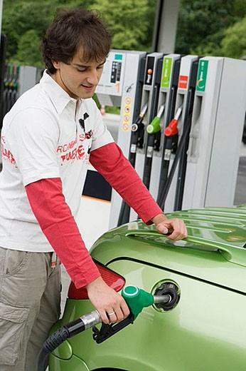 Stock Photo: 1436R-274705 Gas pumps at gas station. Gipuzkoa, Euskadi. Spain.