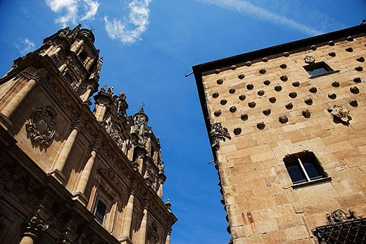 Stock Photo: 1436R-276310 La Clerecía (18ht century baroque Jesuit monastery, now Pontifical University of Salamanca) and Casa de las Conchas, Salamanca. Castilla-León, Spain