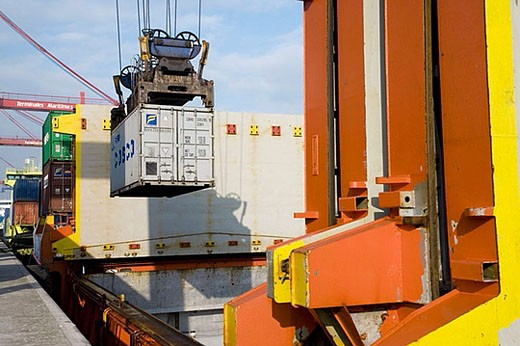 Loading cargo containers in ship, Port of Bilbao, Santurtzi. Biscay, Euskadi, Spain : Stock Photo