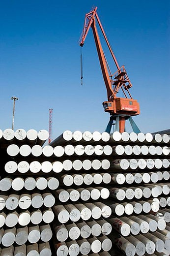 Stock Photo: 1436R-276493 Steel bars, Port of Bilbao, Santurtzi. Biscay, Euskadi, Spain