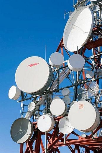 Stock Photo: 1436R-278666 Communication dishes near Mijas, Costa del Sol, Malaga province, Spain