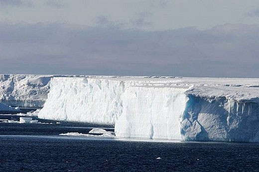 Stock Photo: 1436R-279142 Icebergs in the Weddell Sea off the east coast of the Antarctic Peninsula. Ice is melting in this area of Antarctica at an alarming rate, probably due to Global Warming.