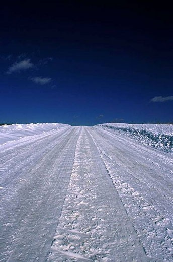 snow covered rural road : Stock Photo