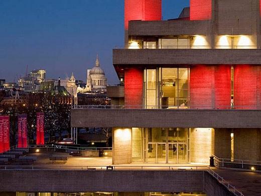 Stock Photo: 1436R-287077 Europe, UK, England, London, National Theatre city skyline at dusk (2008)