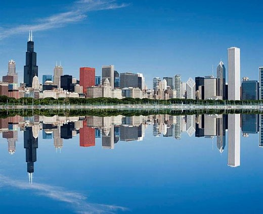 DOWNTOWN LAKESHORE CHICAGO. ILLINOIS. USA : Stock Photo