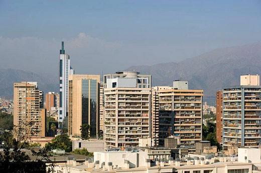 Downtown skyline from Cerro Santa Lucia. Santiago. Chile : Stock Photo
