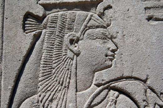 Portrait of Nefertari, Medinet Habu temple, Luxor, Egypt : Stock Photo