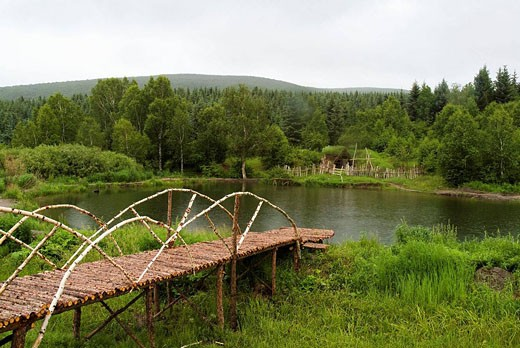 July 2006, the Chinese landscape in China´s Inner Mongolia grassland  Pool landscape : Stock Photo