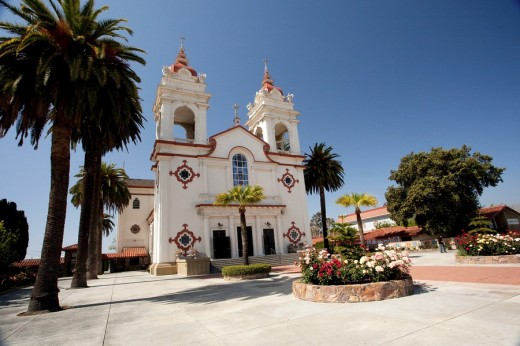 The Five Wounds Portuguese National Church is the heart and soul of the Portuguese Community in Santa Clara Valley  The Five Wounds Parish was dedicated by Father Henrique Ribeiro on November 8, 1914 : Stock Photo