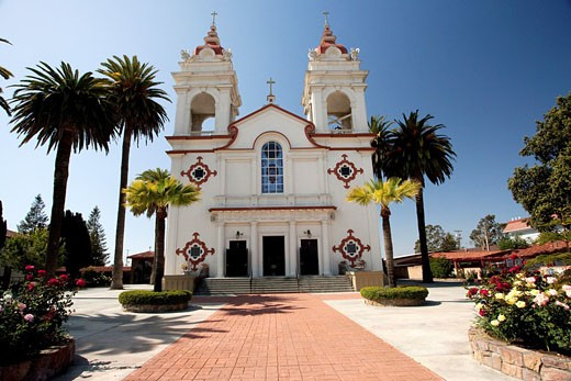 Stock Photo: 1436R-297256 The Five Wounds Portuguese National Church is the heart and soul of the Portuguese Community in Santa Clara Valley  The Five Wounds Parish was dedicated by Father Henrique Ribeiro on November 8, 1914