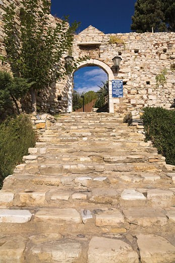 Stone stairway leading to the entrance of the 14th-century Genoese fort on Pigeon Island, Kusadasi, Turkey : Stock Photo