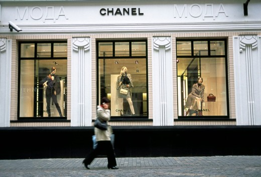 Stock Photo: 1436R-297803 Moscow , Russia  Fashionable capitalism  Chanel´s flagship store in the fashionable Tverskoy area in Moscow  stoleshnikov pereulok 16 - 107031 moscow
