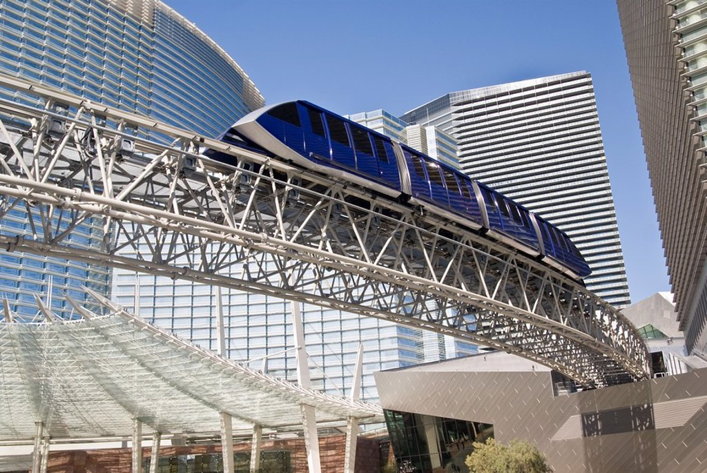 Stock Photo: 1436R-298341 A monorail tram passes by the ultra-modern CityCenter complex in Las Vegas