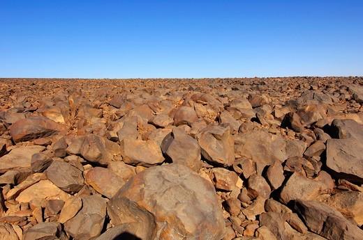 Stock Photo: 1436R-298367 Stone-covered Hammada desert on the Mesak Settafek plateau, Fezzan, Libya