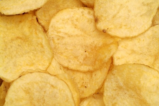 Potato Chips, Close Up : Stock Photo
