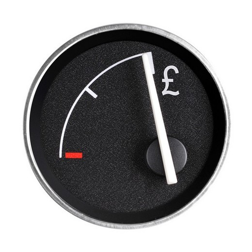 Fuel gauge with pound symbol : Stock Photo