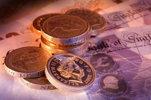 Stock Photo: 1436R-299096 Pound coins