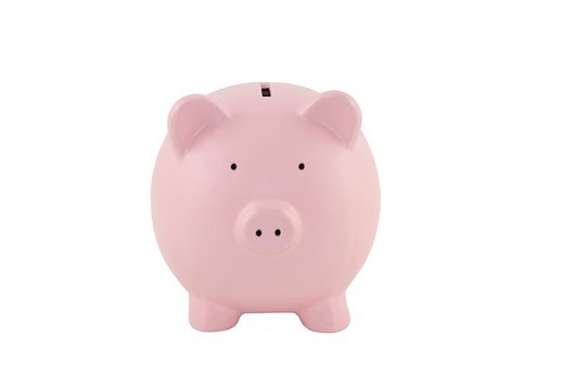 Pink piggy bank on a white background with clipping path : Stock Photo
