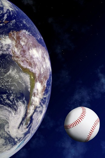 Studio shot of a baseball ball as a planet or moon in in orbit around the planet earth and against a space background : Stock Photo