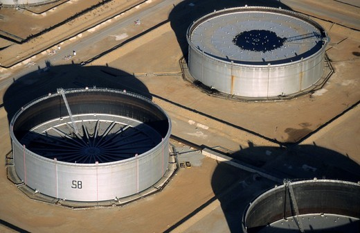 Oil tanks fields aerial view, Berre l´Etang, France : Stock Photo