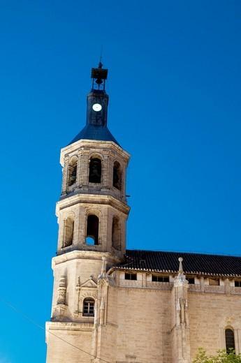 Asunción church, night view  Valdepeñas, Ciudad Real province, Castilla La Mancha, Spain : Stock Photo