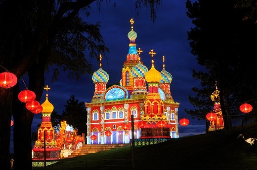 Stock Photo: 1436R-301754 Church of the Savior on Spilled Blood Cathedral Chinese Lantern Festival at dusk at Ontario Place Toronto