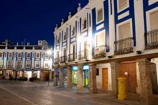 Stock Photo: 1436R-301785 Plaza de España, night view  Valdepeñas, Ciudad Real province, Castilla La Mancha, Spain