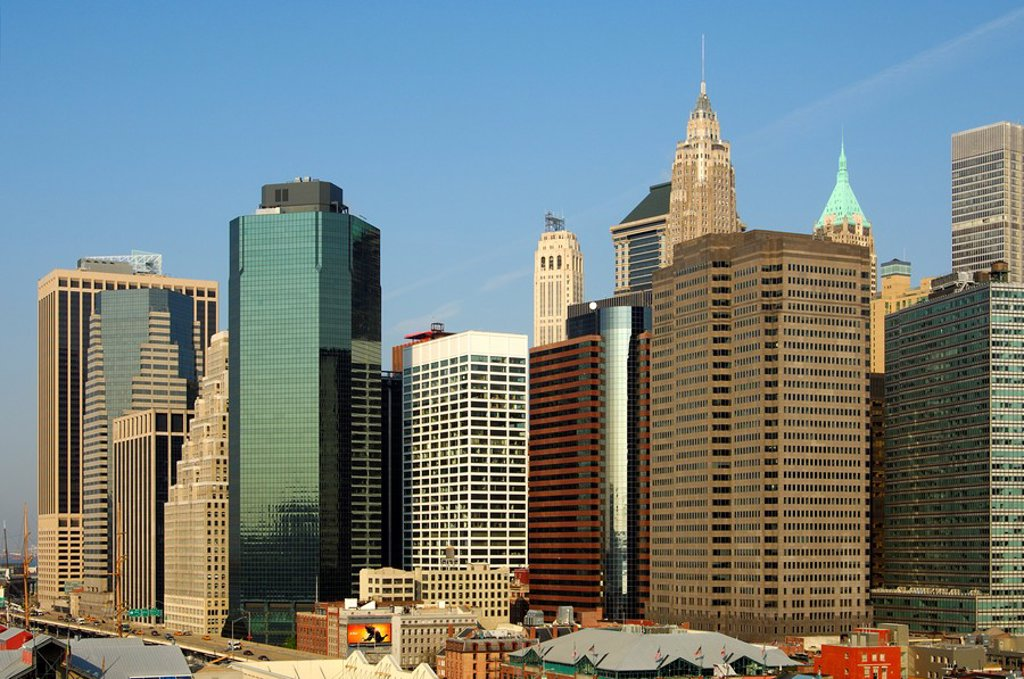 Stock Photo: 1436R-302175 Skyline of Lower Manhattan with the Financial District, Manhattan, New York, USA