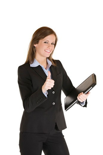 Beautiful Caucasian business holding a laptop computer : Stock Photo