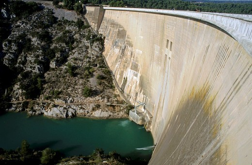 France Provence Sainte Victoire Mountain The Bimont Dam : Stock Photo