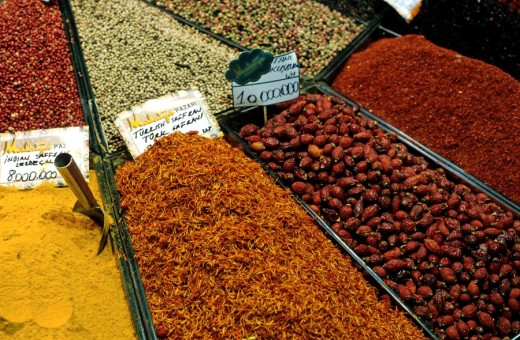 Stock Photo: 1436R-302704 Turkey istanbul at great bazaar stall of spices