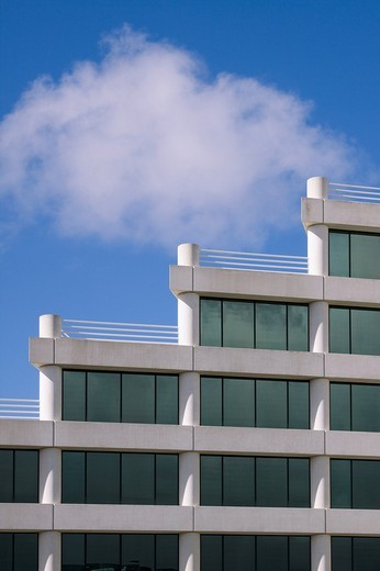 Stock Photo: 1436R-303816 Architectural detail of modern office building in Silicon Valley with rooftop terraces in a stairstep pattern. San Mateo, California, USA.