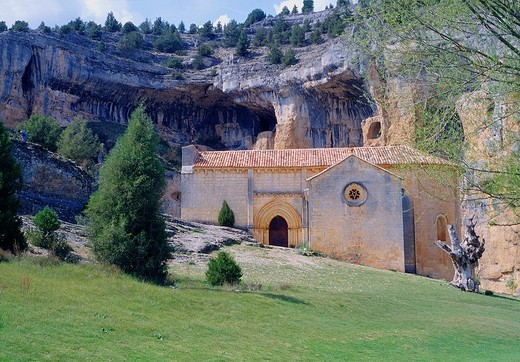 San Bartolomé Templar church  Cañón del Río Lobos Nature Reserve, Soria province, Castilla León, Spain : Stock Photo