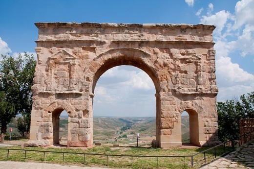 Roman arch  Medinaceli, Soria province, Castilla León, Spain : Stock Photo