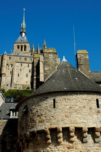 Stock Photo: 1436R-304307 Mont st michel ramparts close up