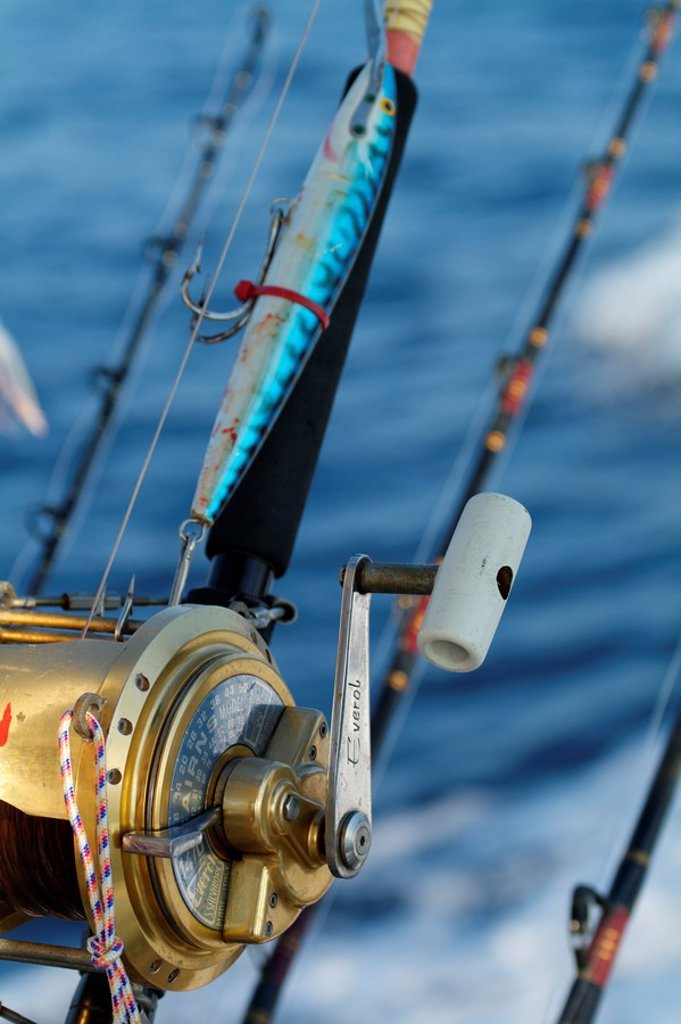 France mediterranean sea rod and reel on board of a game fishing boat in the morning : Stock Photo