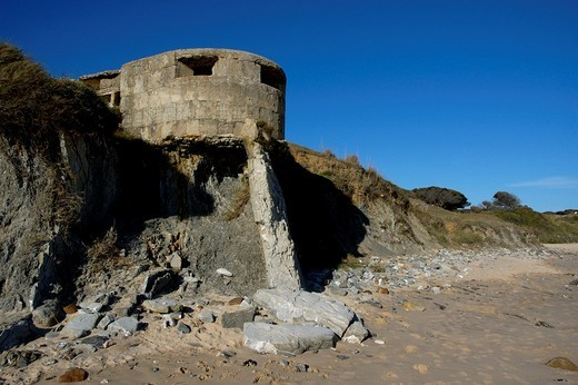 Spain andalusia tarifa remains of a blockhouse on playa de los lances : Stock Photo