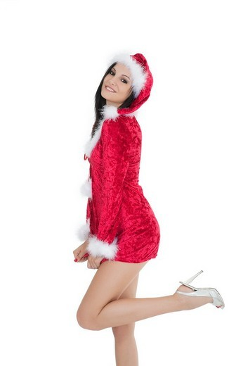 Stock Photo: 1436R-305719 A very beautiful and sexy woman dresses as a sexy santa