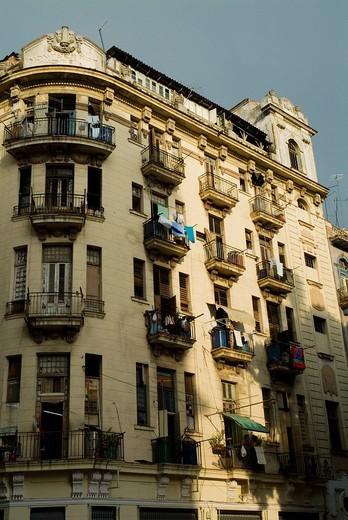 Stock Photo: 1436R-305822 Old facade of a building in Havana, Cuba
