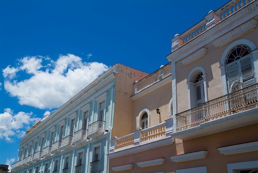 Stock Photo: 1436R-306026 Colourful old colonial-style buildings, Cienfuegos, Cuba.