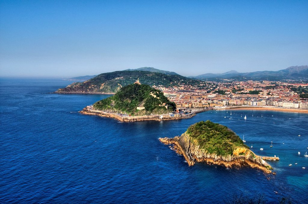 View of Santa Clara Island, Urgull and Ulia mountains, from Igueldo Mountain, Donostia-San Sebastián, Guipuzcoa, Basque Country, Spain : Stock Photo