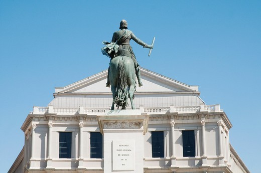 Felipe IV statue and Royal Theatre, Oriente Square  Madrid, Spain : Stock Photo