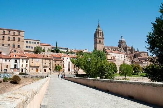 View from the Roman bridge  Salamanca, Castilla León, Spain : Stock Photo