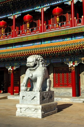 Guardian lion at the Xinhuamen Gate, Gate of New China, main entrance to the Zhongnanhai complex, Beijing, China : Stock Photo