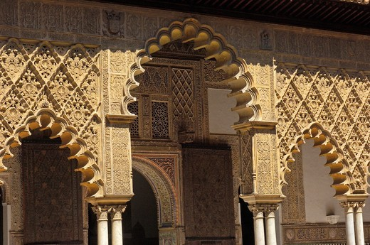 Patio de las Doncellas, Reales Alcazares, Seville, Andalusia, Spain : Stock Photo