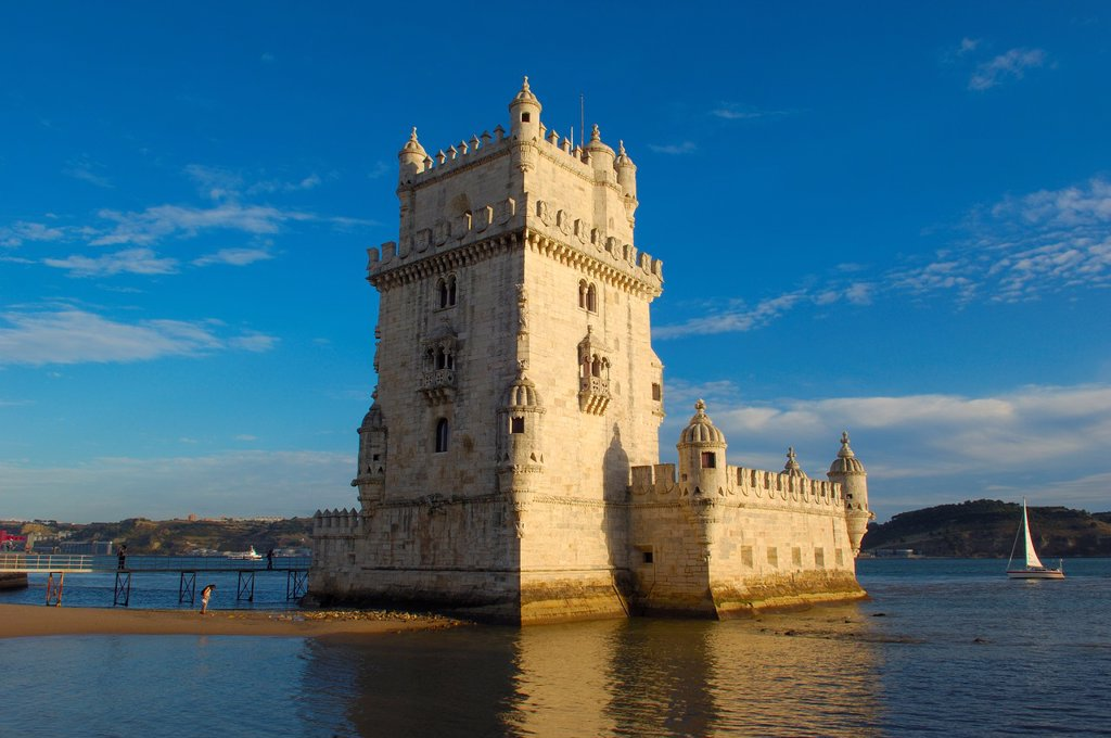 Belem Tower (Torre de Belém) built by Francisco de Arruda, Lisbon, Portugal : Stock Photo